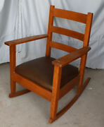 Antique Mission Oak Rocking Chair Rocker Lifetime Furniture Company Arts And Craft