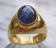 Menand039s 18k Solid Gold Natural Blue Sapphire Ring