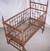 Antique Victorian Doll Crib And Rocking Cradle