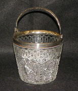 Antique Rare Pattern Cut Glass Ice Bucket With Sterling Silver Rim And