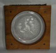 Lalique Clear And Frosted Glass Cote Dand039or Platter - 20.25 X 20.25 - In Wood Frame