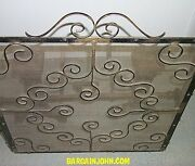 Antique Hand Hammered Andirons And Fire Screen - Arts And Crafts Style