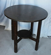 Antique Arts And Crafts Mission Oak Lamp Table - Small Round Table