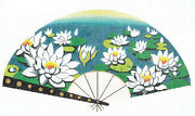 Oriental Fan Cluster Of Water Lily Blossoms Handpainted Needlepoint Canvas Lee