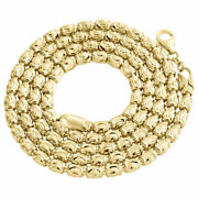 Solid 10k Yellow Gold Diamond Cut Barrel Chain 4mm Necklace Oval Bead 22-30 Inch