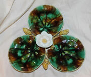 Antique Majolica Pottery Water Lilies Server Platter Tray