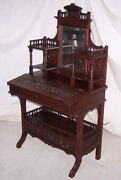 Antique Victorian Mahogany Ladies Or Writing Small Desk - Fancy