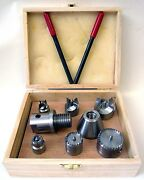 Wood Lathe 8 Pc Multi Spur Drive Center Set + Wood Case Fits Shopsmith And 1-8 New