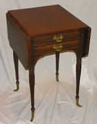Antique Victorian Oak Sewing Table - Drop Down Sides - 2 Storage Drawers