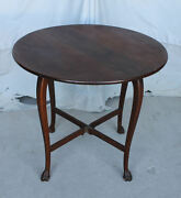 Antique Oak Drop Leaf Parlor Lamp Table With Claw Feet
