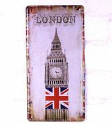 Art Antique License Plate London Flags Metal Tin Signs Bar Home Cafe Wall Decor