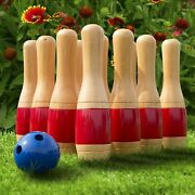 11 Inch Wooden Lawn Bowling Set With Mesh Bag Backyard Family Game