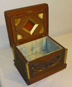 Antique Victorian Wood Carved Jewelry Box