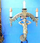 Outstanding Antique Midieval Castle / Greek God Wall Sconce Electric Lamp