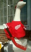 Goose Clothes 4 Lawn Goose Detroit Red Wings Hockey Cement Plastic Garden Whi