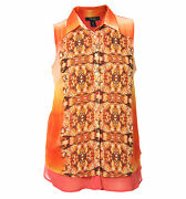 Style And Co 0x Multi Color Print Sleeveless Button Down Chiffon Shirt Nwt F/s
