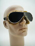 Vintage 30and039s Aviator Flying Resistal Rider Goggles Aviation Motorcycle Racers