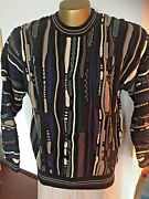 Croft And Barrow Novelty Knit Sweater Black / White Purple Teal Tan  Cotton  M