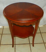 Round Mahogany Book Match Veneer Top Lamp Table / End Table By Drexel T606