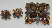 Joan Rivers Large Signed Bronze Tone Citrine Amber Pin/brooch And Pierced Earrings