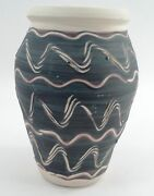 Handcrafted Pigeon Forge Studio Art Pottery Vase Vessel w/ Sgraffito Wavy Lines