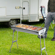 29 Fordable Bbq Charcoal Grill Stainless Steel Backyard Cooker Silver Party