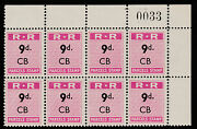 Rhodesia 677 1951 Railway Parcel Stamp 9d Cb Block Of 8 With Sheet Number U/m