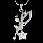 Tinkerbell Star Made With Crystal Angel Wing Fairy Necklace Jewelry