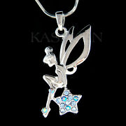 Blue Tinkerbell Star Made With Crystal Angel Fairy Necklace Jewelry