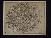 Antique Engraved Map 1744 Etching Birds Eye View Of City Of Mechlin J. Bafire