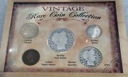 Vintage Rare Coin Collection Barber And Indian Head 5 Coin Set In Wooden Case