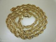 5mm Solid Core 14k Yellow Gold Diamond Cut Rope Chain Necklace 20 22 24 26