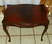 Walnut Book Match Veneer Carved End Table / Side Table T257