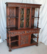 Antique Oak Court Cabinet - Sideboard And China Cabinet