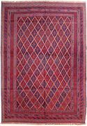 Splendid Handmade 7and039 X 9and039 Red Blue Oriental Kindred Rug