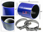 Blue 2.5 63mm 3-ply Silicone Hose Turbo Intake Intercooler + Clamps For Gmc