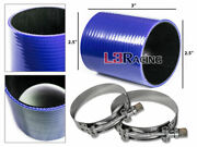 Blue 2.5 63mm 3-ply Silicone Hose Turbo Intake Intercooler + Clamps For Audi