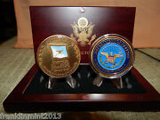 General John Shali And Dept. Of Defense 2 Set Of Challenge Coinand039s In A Wood Box