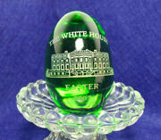 Presidential White House Easter Egg 2007 Green Glass-each Are Hand Made And Etched