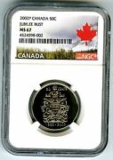 1952 2002 P Canada 50 Cent Half Dollar Jubilee Bust Ngc Ms67 Canada Label Rare