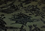 Donghia Toyo Ink Sansui Chinoiserie Asian Village Toile Cut Velvet Fabric