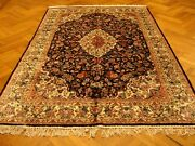 Hand-knotted Rug 6and039 X 9and039 Artificial Silk Black - Ivory Plush Rug Elegant