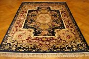 Hand-knotted Rug 6and039 X 9and039 Artificial Silk Navy Blue - Velvet Red French Rug