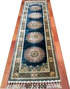 Silk Rug Handmade 2and039 6and039and039 X 10and039 Teal Blue - Yale Blue Traditional Design Rug
