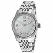 Oris Womenand039s Classic Diamond Crystal Silver-tone Stainless Steel White Mop Dial