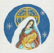 Christmas Madonna And Child Handpainted Needlepoint Canvas Ornament Alice Peterson