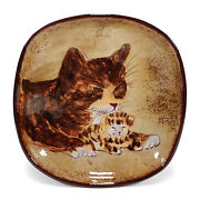 VINTAGE CHELSEA ENGLISH STUDIO ART POTTERY FOOTED DISH BOWL KITTY CATS ENGLAND