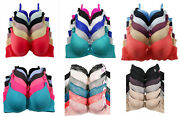 Lot 3 Or 6 Women Underwired Light Padded Full Cup / Demi Lace Plain D/dd/ddd Bra