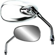 Parts Unlimited Chrome Oval Standard Universal Classic American Style Mirror