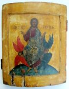 Rare 18th Century Antique Russian Icon Of Christ Enthroned In 15th Century Style
